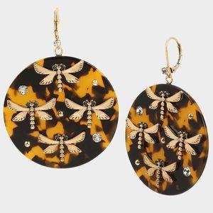 NWT Dragonfly Tortoise Drop Earrings